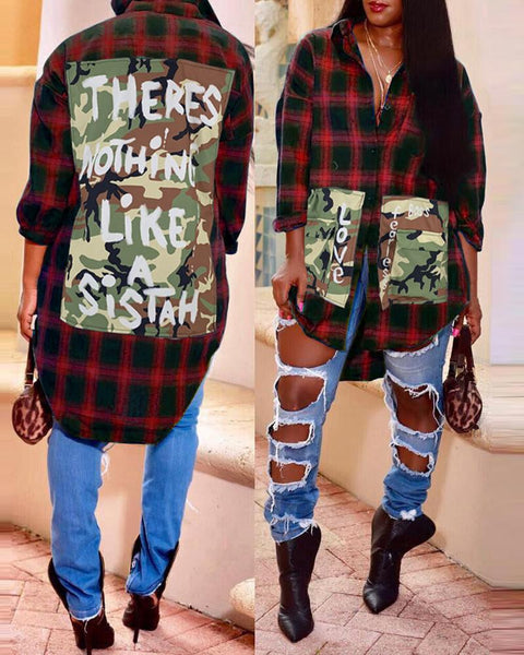 Plaid Camouflage Letter Print Buttoned Casual Shirt