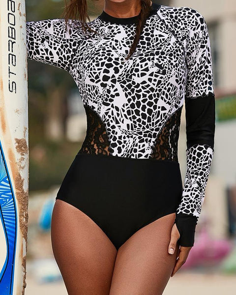 Abstract Print Lace Insert One Piece Rashguard Swimsuit