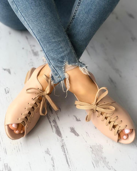 Solid Lace-up Buckled Slingbacks Flat Sandals