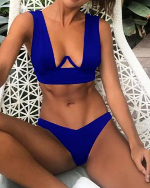 Solid Thin Strap Push Up Bikini Sets