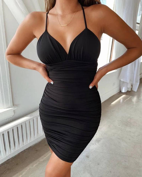 Crisscross Back Ruched Bodycon Dress