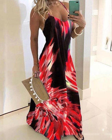 Halter Sleeveless Print Maxi Dress