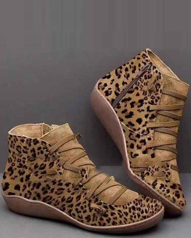 High Top Leopard Ankle Booties