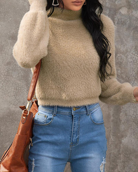 Plain Fluffy Casual Sweater