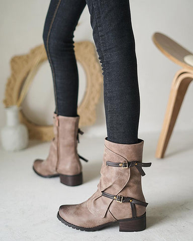 Gradient Double Buckles Round-toe Anckle Boots
