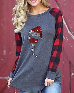 Christmas Printing Long Sleeve Blouse