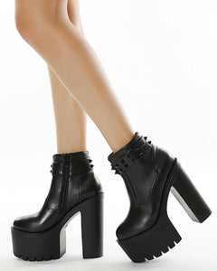 Solid Color Round-toe Platform High Heel Boots