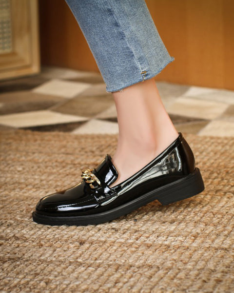 Metallic Chain Upper Round-toe Low Cut Loafers Slip-on
