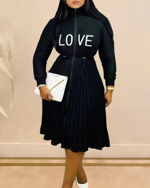 Letter Embroidery Long Sleeve Drawstring Pleated Dress