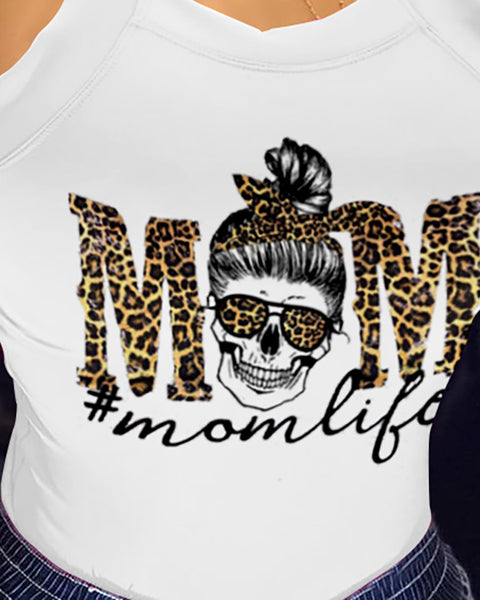 Mother's Day Thick Strap Leopard Letter Print Fitted Top