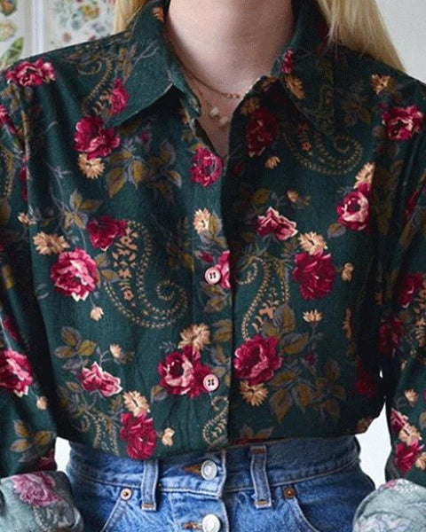 Multicolor Floral Printing Long Sleeve Shirt