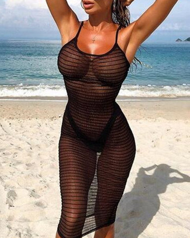 Solid Strap See-through Skinny Bikini Dress