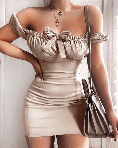 Off Shoulder Frill Hem Bodycon Dress
