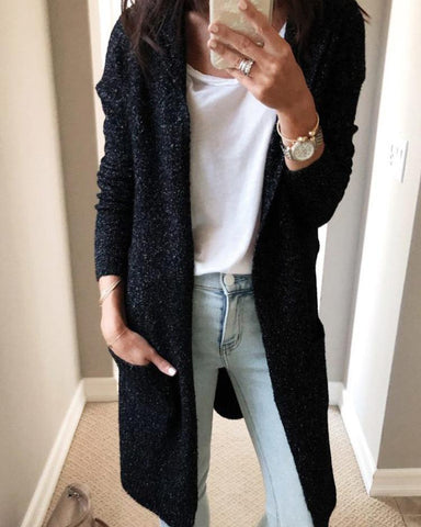 Long Sleeve Open Front Pocket Casual Cardigans