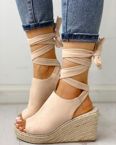 Bandage Design Espadrille Wedge Shoes