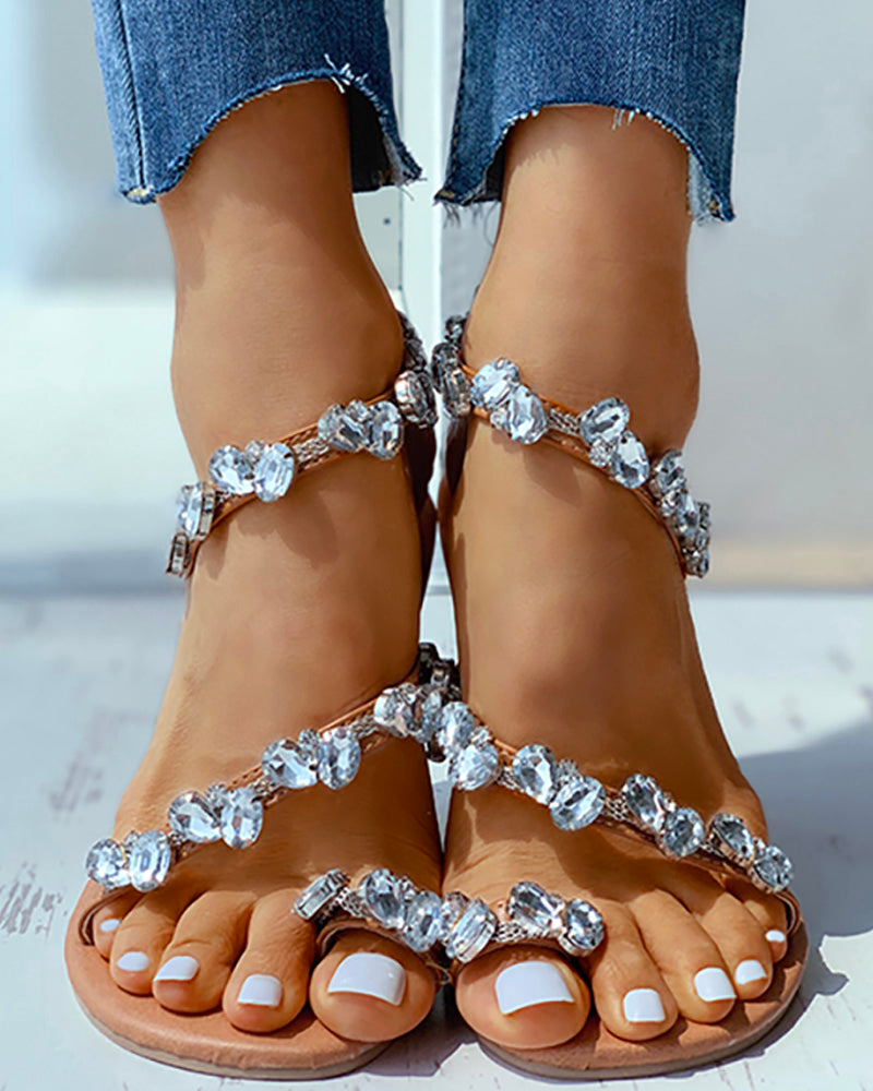 Toe Ring Studded Flat Sandals