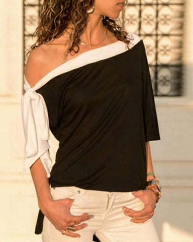 One Shoulder Colorblock Knotted Top
