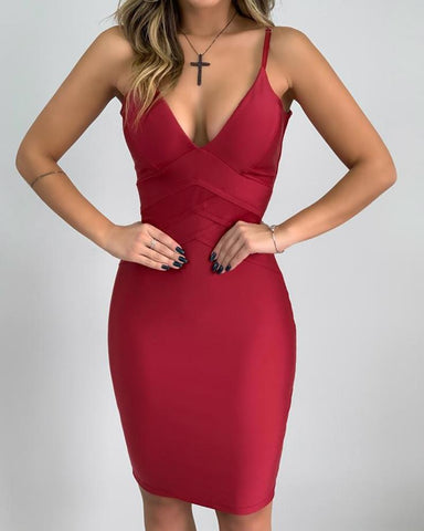 V Neck Bodycon Midi Dress