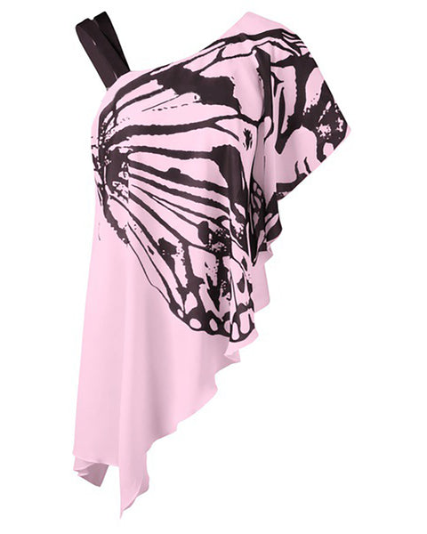 Butterfly Print One Shoulder Irregular Ruffles T-shirt