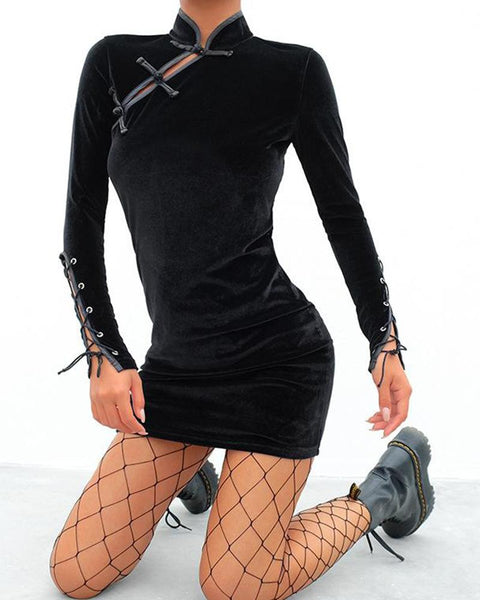 Black Bodycon Cheongsam Fishnet Dress