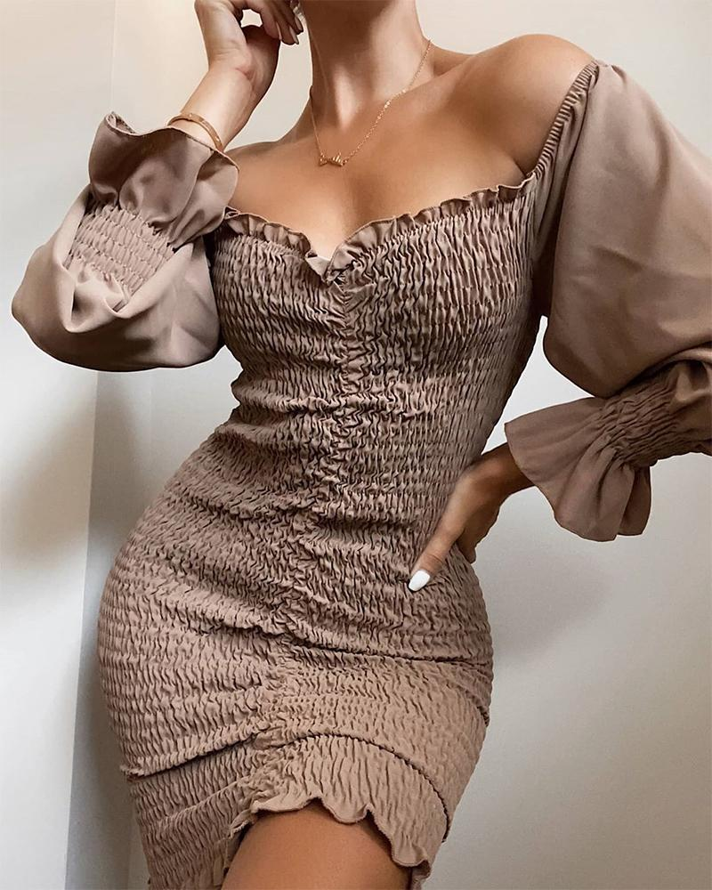 Off Shoulder Lantern Sleeve Bodycon Dress