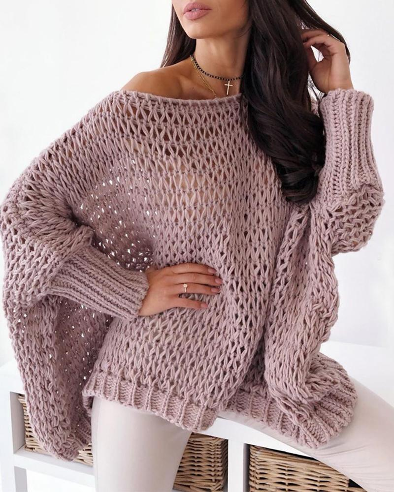 Batwing Sleeve Hollow Out Casual Sweater