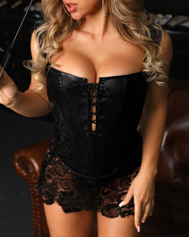 PU Leather Eyelet Lace-up Lace Babydoll
