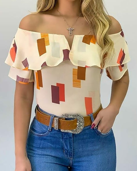 Off Shoulder Colorblock Ruffles Trim Top