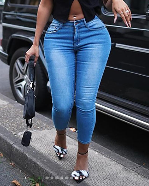 Cutout Ripped Pocket Design Jeans