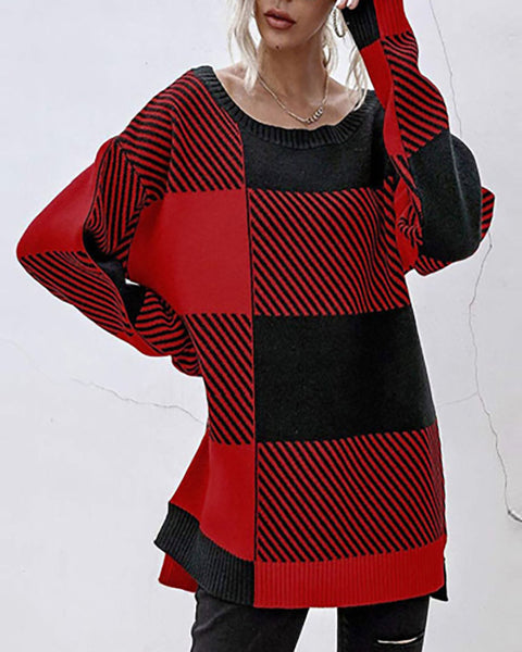 Plaid Long Sleeve Knit Sweater