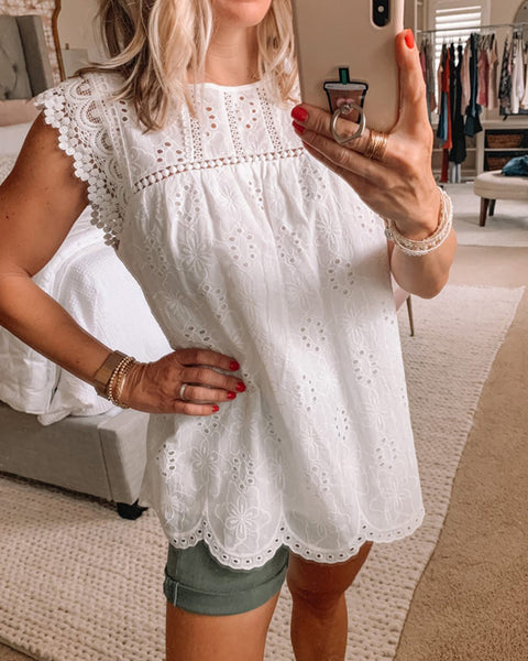 Solid Cut-out Sleeveless Loose Tanks Blouse