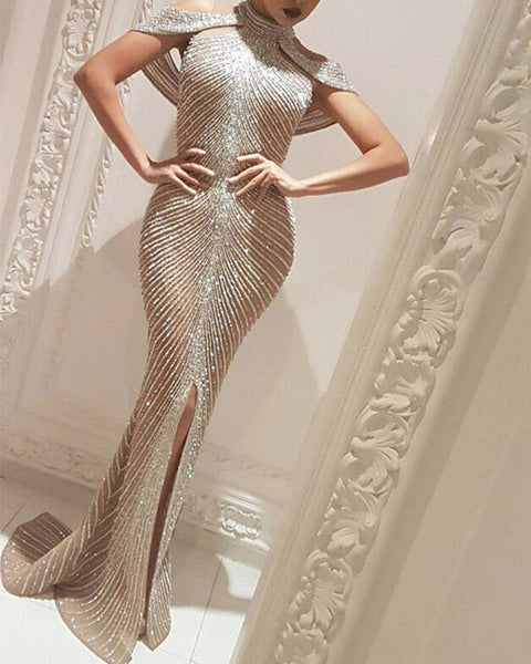 Solid Color Glitter Sleeveless Hollow-out Slit Long Dress