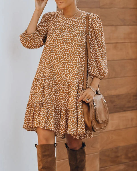Floral Print Long Sleeve Ruffle Hem Tiered Mini Dress