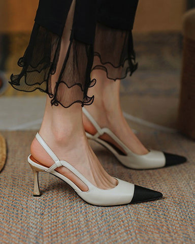 Colorblock Pointed-toe High Heel Sling Back Sandals