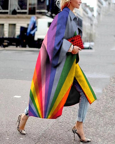Multicolor Long Sleeve Loose Trench Coats