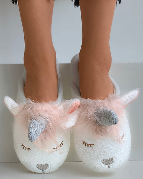 Unicorn Pattern Fluffy Slippers