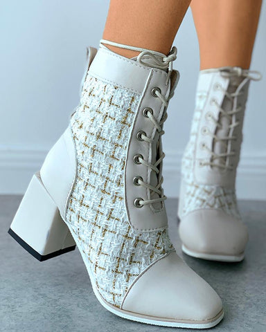Tweed Eyelet Lace-up Chunky Heeled Boots
