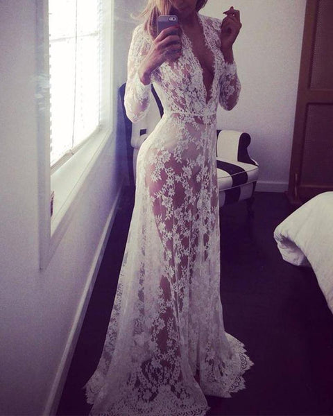 See-through Lace Long Sleeve Long Dress