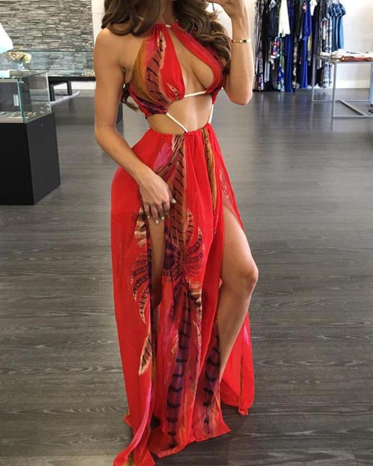 Red Floral High Slit Halter Maxi Chiffon Dress