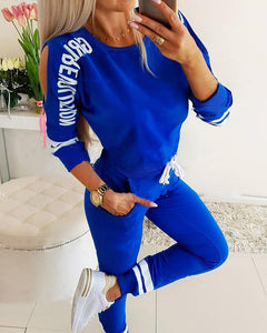 Cut Out Print Sweatshirt Pants Sports Set