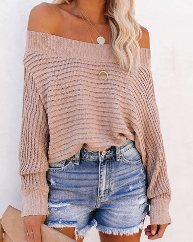 Off Shoulder Knitted Long Sleeve Casual Sweater