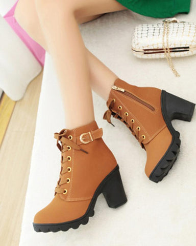 New high-heeled thick-bottom side zipper belt buckle Martin boots female