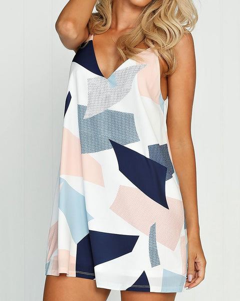 Color Block Double V Mini Slip Dress