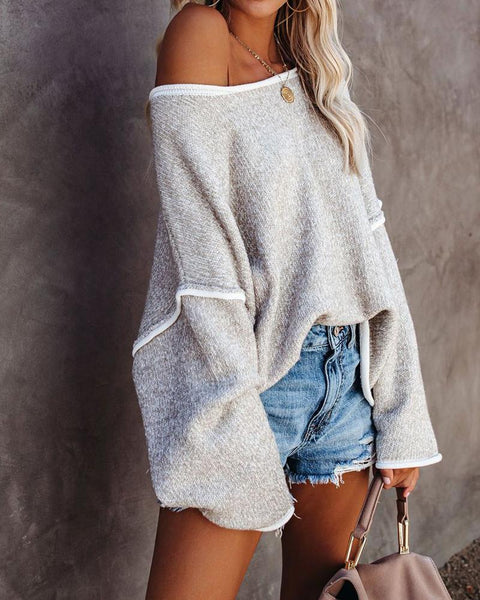 Bell Sleeve Contrast Piping Casual Sweaters