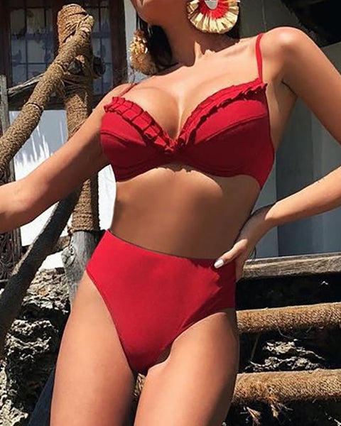 Ruched Detail High Waist Bikini Set
