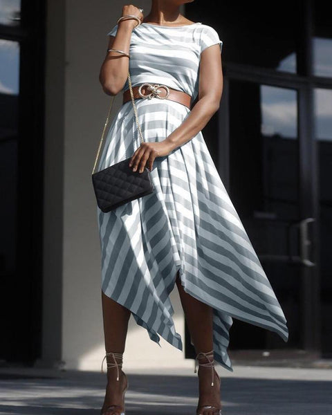 Contrast Striped Irregular Maxi Dress