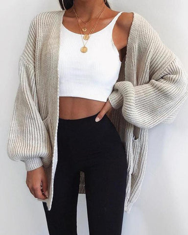 Solid Ribbed Long Sleeve Cardigan