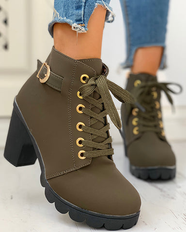 Suede Eyelet Lace-Up Buckled Chunky Heeled Ankle-Boots