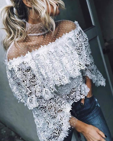 Mesh Lace Irregular hollow Blouse