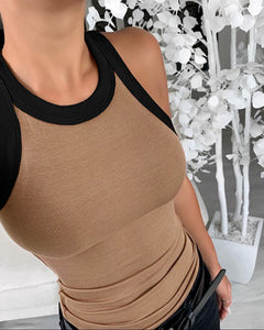 Colorblock Contrast Binding Tank Top